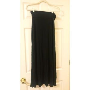 Black maxi skirt with slits.